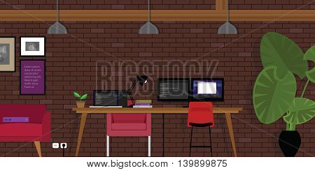 start-up open works-pace co-working office industrial style with programming coding desk and brick vector