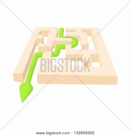 Exit of labyrinth icon in cartoon style isolated on white background. Find way symbol