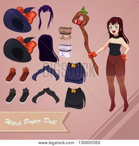 A vector illustration of witch paper doll