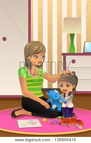 A vector illustration of happy daughter playing together with her mother in bedroom