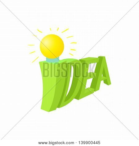 Idea icon in cartoon style isolated on white background. Concept symbol