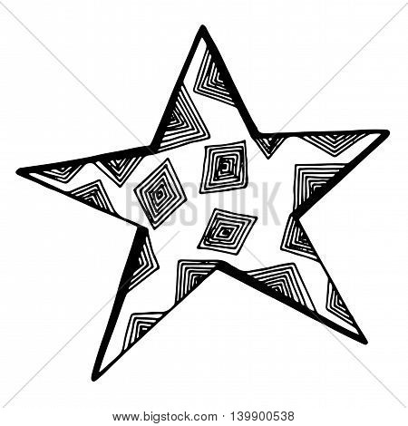 Black line star with abstract pattern isolated on the white background.