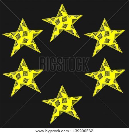 Frame with yellow star with abstract pattern on the dark background.