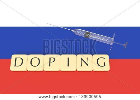 Doping: Russian flag with a syringe and letter tiles 3d illustration