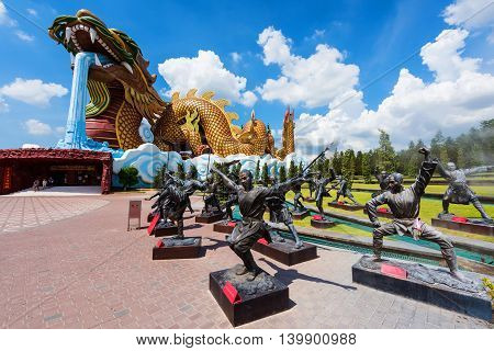 Giant Dragon Monument And Chinese Kung Fu Statue