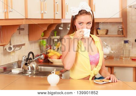 Girl With Gingerbread Cookies Drinking Tea Coffee.