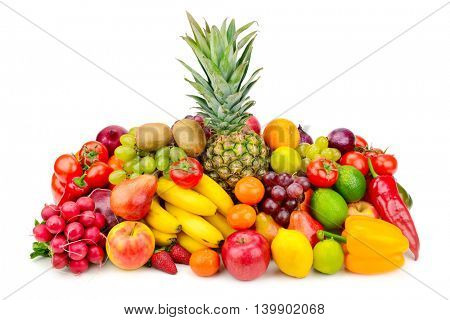 Collection juicy fruits and vegetables isolated on white. Healthy and wholesome food.