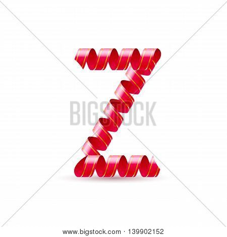Letter Z made of red curled shiny ribbon