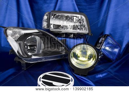 Car lights and car headlamp on blue background