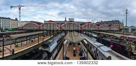 COPENHAGEN DENMARK - OCTOBER 27: Panorama of beautiful central train station in Copenhagen Denmark. The image was taken on October 27 2014.