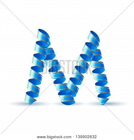 Letter M made of blue curled shiny ribbon