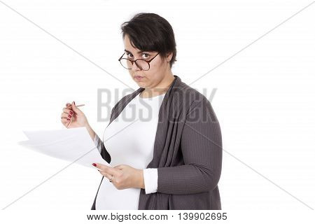 teacher correcting exam isolated on white background