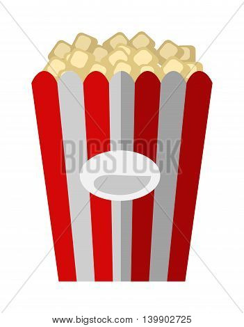 Popcorn box vector icon isolated flat style. Popcorn cinema vector illustration. red box popcorn opened. Cinema fast food