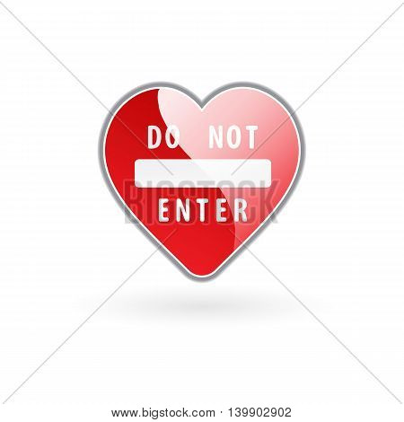 vector illustration of heart in stylistics of road sign