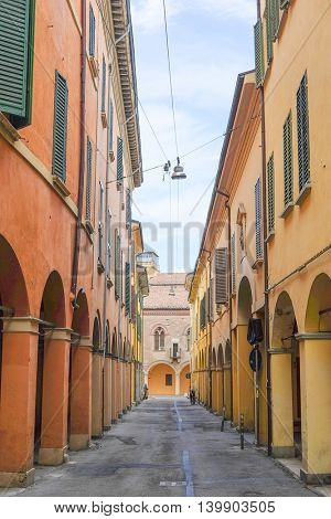 Street in a center of an old town in Bologna, Italy