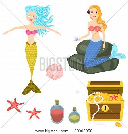 Cartoon mermaids and treasure dower chest clip art vector graphics for game. Isolated sea life objects - treasure dower chest, shell, starfish, rocks.