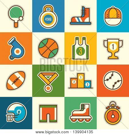 Sport icon set. Vector illustration.