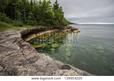 Cove On The Coast Of Lake Superior  In Michigan. Cliff on the shores of Lake Superior in Michigan's Upper Peninsula.