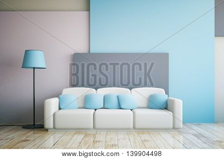 Vibrant grey and blue living room interior design with large sofa and floor lamp. 3D Rendering