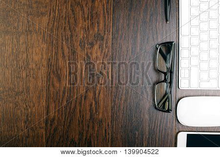 Textured Wooden Desktop With Items
