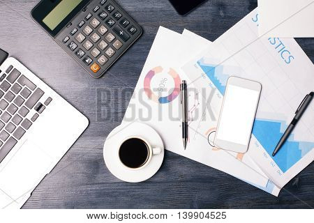 Blank Cellphone And Business Report