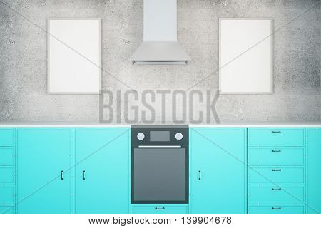 Blue Kitchen With Frames