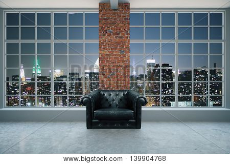 Armchair In Interior At Night