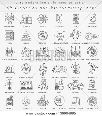 Vector Genetics and biochemistry technology ultra modern outline line icons for web and apps