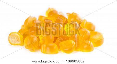 Gummy Peaches On White