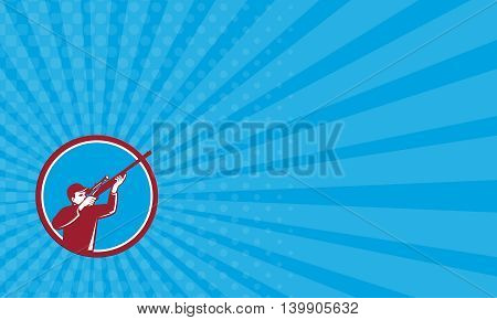 Business card showing illustration of a hunter wearing hat aiming shooting up shotgun rifle viewed from the side set inside circle on isolated background done in retro style.