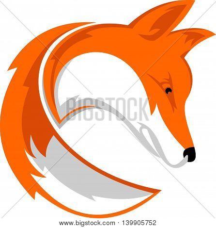 wild fox  icon with tail logo illustration