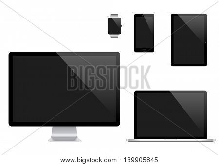 Vector set of Modern Digital devices. Computer monitor, laptop, tablet pc, mobile phone and smart watch. Isolated on transparent background.