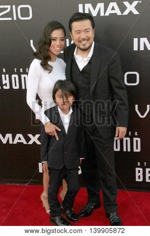 Justin Lin and family attend at the Star TreK Beyond  premiere during Comic Con on July 20, 2016 at the Embarcadero Marina Park South in San Diego, CA.