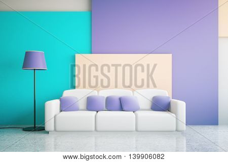 Vibrant blue and purple living room interior design with large sofa and floor lamp. 3D Rendering