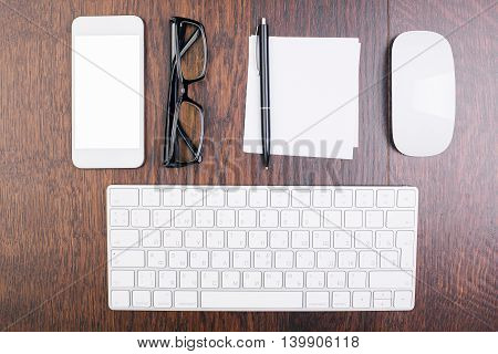 Office Desktop With Objects Top