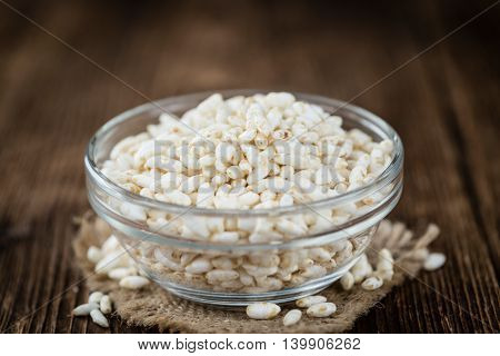 Old Wooden Table With Puffed Rice