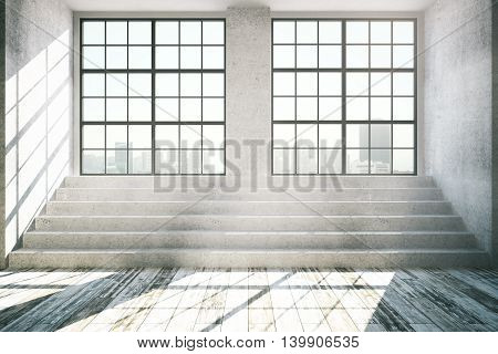 Empty interior with windows city view daylight concrete stairs and antique wooden floor. 3D Rendering