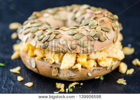 Scrambled Eggs On A Bagel (selective Focus)