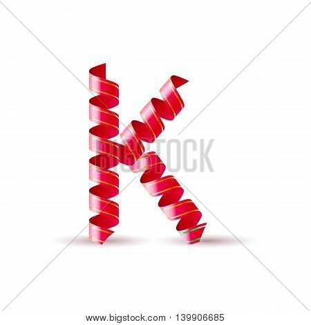 Letter K made of red curled shiny ribbon