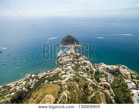 Aerial view of Sant'Angelo in Ischia island in Italy