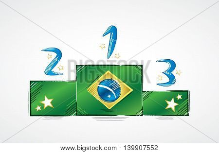 Podium with Brazil flag showing the numbers first, second and third with stars around
