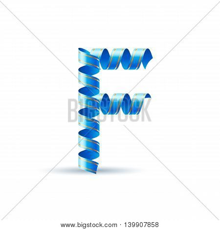 Letter F made of blue curled shiny ribbon
