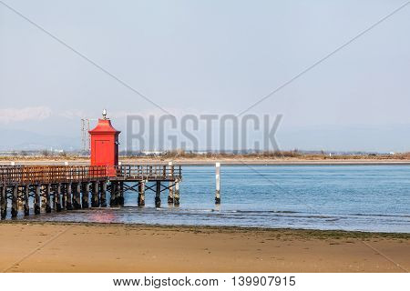 Little Lighthouse In Lignano Bibbione Italy.