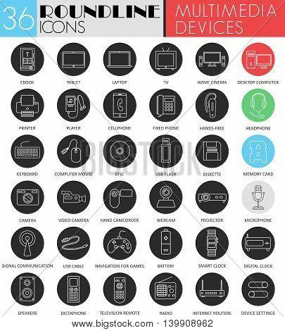 Vector Multimedia devices circle white black icon set. Modern line black icon design for web