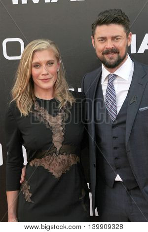 Katee Sackhoff and Karl Urban attend at the Star TreK Beyond  premiere during Comic Con on July 20, 2016 at the Embarcadero Marina Park South in San Diego, CA.