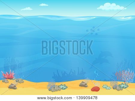 Cartoon sea bottom background for game design. Underwater empty seamless landscape