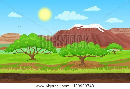 Cartoon color nature spring summer landscape in sun day with grass, trees, sky and nountains hills with snow. Vector sunday game style illustration. Background for games