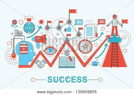 Modern graphic flat line design style infographics concept of Success life with icons, for website, presentation and poster