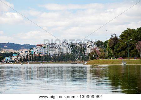 Buildings beside the lake, Da Lat city, Vietnam