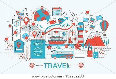 Modern Flat thin Line design Travel toutism concept for web banner website, presentation, flyer and poster